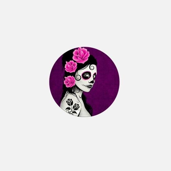 Day of the Dead Girl Purple Mini Button