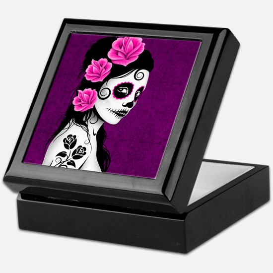 Day of the Dead Girl Purple Keepsake Box