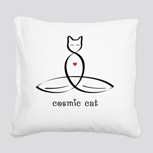 """Stylized Cat Meditator with """" Square Canvas Pillow"""