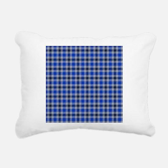 Blue and Grey Plaid Rectangular Canvas Pillow