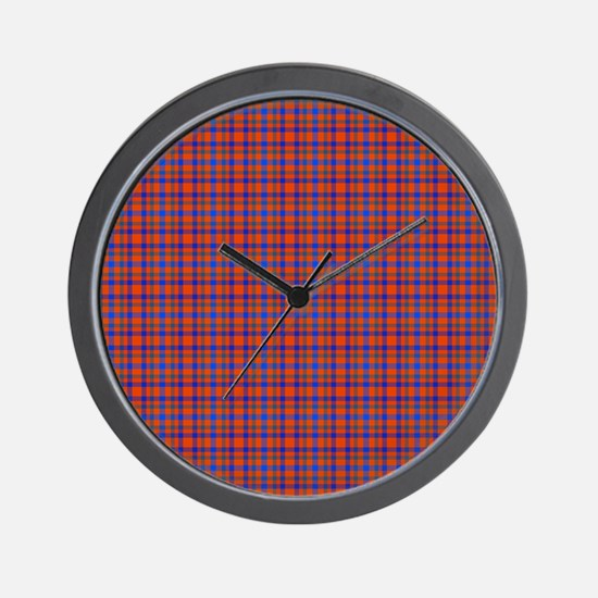 Blue and Orange Plaid Wall Clock