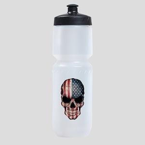 American Flag Skull Sports Bottle