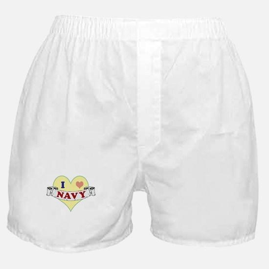 I Heart Navy Boxer Shorts