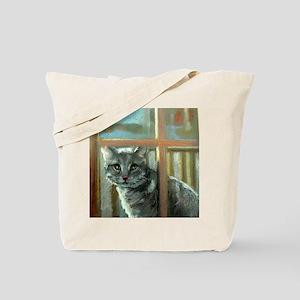 Grey cat in the window Tote Bag