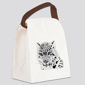 Beautiful Blue Eyed Snow Leopard  Canvas Lunch Bag