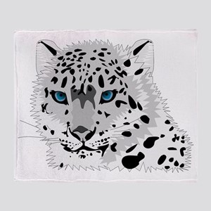 Beautiful Blue Eyed Snow Leopard   Throw Blanket