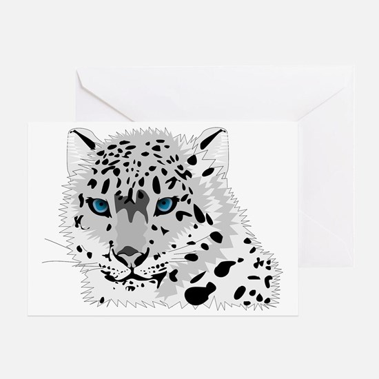 Beautiful Blue Eyed Snow Leopard   Greeting Card