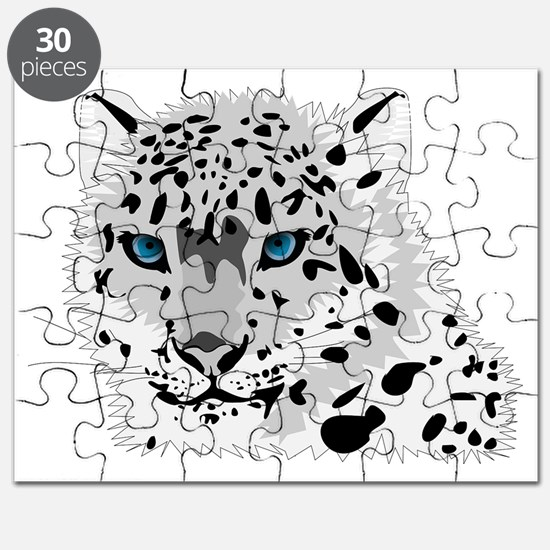 Beautiful Blue Eyed Snow Leopard   Puzzle