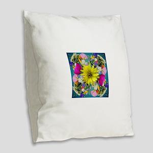 Yellow Aqua Wildflower Mandala Burlap Throw Pillow
