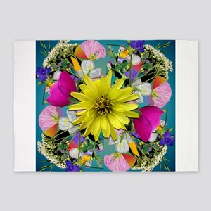 Yellow Aqua Wildflower Mandala 5'x7'Area Rug