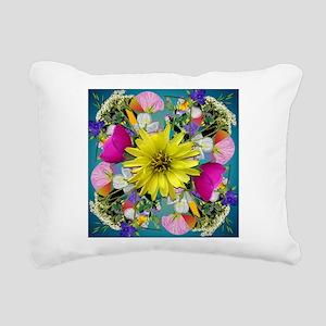 Yellow Aqua Wildflower Mandala Rectangular Canvas