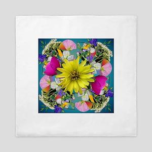 Yellow Aqua Wildflower Mandala Queen Duvet