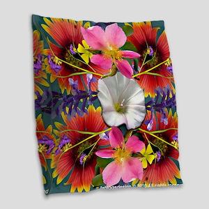 Indian Blanket Flower Mandala Burlap Throw Pillow