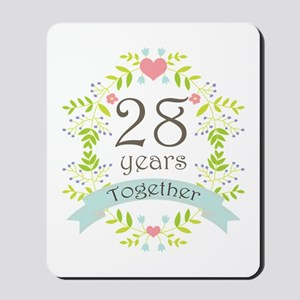 28th Anniversary flowers and hearts Mousepad