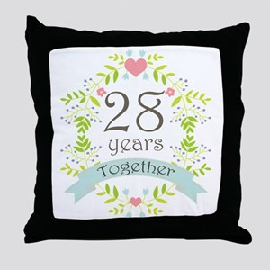 28th Anniversary flowers and hearts Throw Pillow