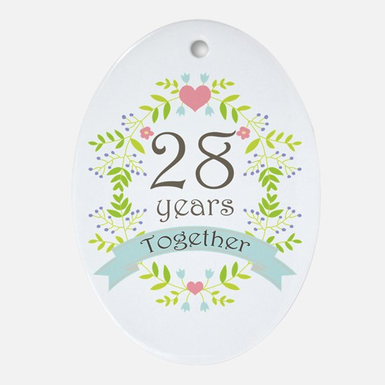 28th Anniversary flowers and heart Ornament (Oval)