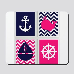 NAUTICAL ON PINK AND BLUE CHEVRON Mousepad