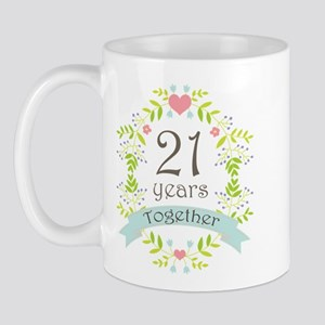 21st Anniversary flowers and hearts Mug