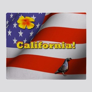California with American Flag  Throw Blanket