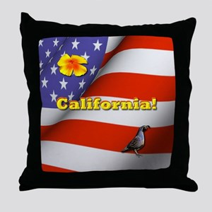 California with American Flag  Throw Pillow