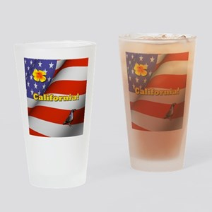 California with American Flag  Drinking Glass