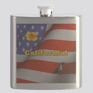 California with American Flag  Flask