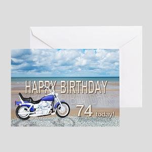 74th birthday card with a motor bike Greeting Card