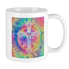 Tye Dye Cross with Heart Mugs