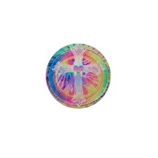 Tye Dye Cross with Heart Mini Button