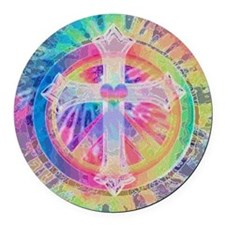 Tye Dye Cross with Heart Round Car Magnet