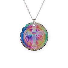 Tye Dye Cross with Heart Necklace