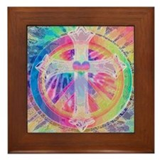 Tye Dye Cross with Heart Framed Tile