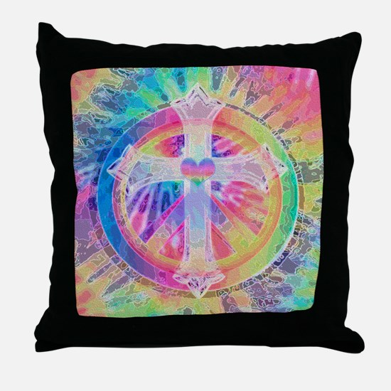 Tye Dye Cross with Heart Throw Pillow