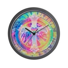 Tye Dye Cross with Heart Wall Clock
