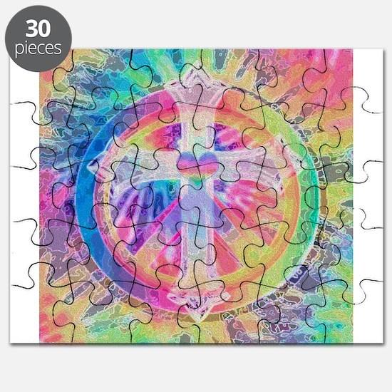 Tye Dye Cross with Heart Puzzle
