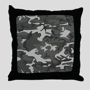 Dark Grey Camouflage Throw Pillow