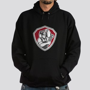 Plumber Carry Toolbox Wrench Shield Retro Hoodie