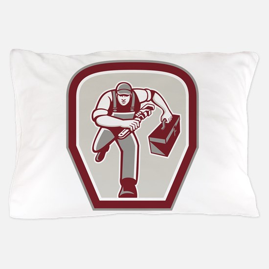 Plumber Carry Toolbox Wrench Running Retro Pillow
