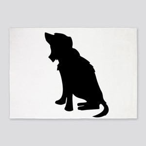 Black Dog Silhouette 5'x7'Area Rug