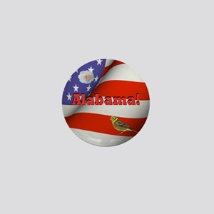 Alabama with American Flag  Mini Button