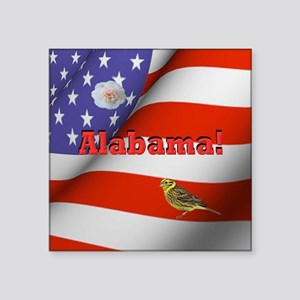 "Alabama with American Flag  Square Sticker 3"" x 3"""