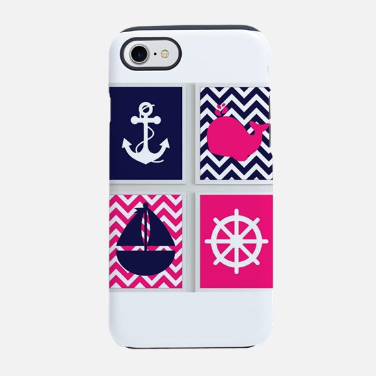 NAUTICAL ON PINK AND BLUE CHEVRON iPhone 7 Tough C