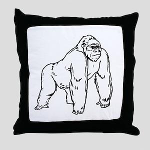 Gorilla Drawing Throw Pillow