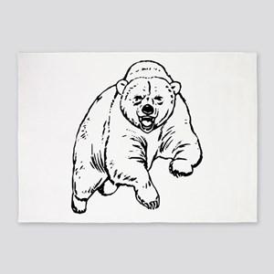 Grizzly Bear Drawing 5'x7'Area Rug