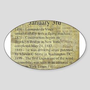 January 3rd Sticker (Oval)