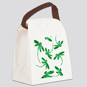 Dragonflies Neon Green Canvas Lunch Bag