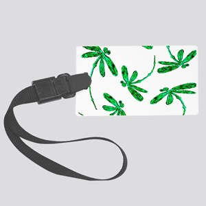 Dragonflies Neon Green Large Luggage Tag