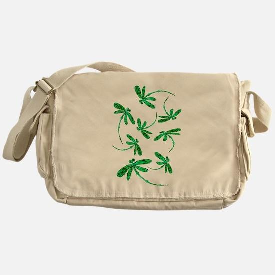 Dragonflies Neon Green Messenger Bag