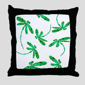 Dragonflies Neon Green Throw Pillow