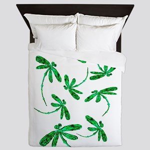 Dragonflies Neon Green Queen Duvet